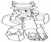 Printable Girl Roblox with hat and fire feet coloring pages