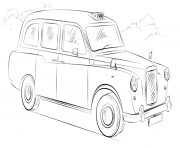 Printable london taxi cab united kingdom coloring pages