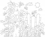 flower garden with cat coloring pages
