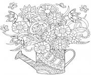 adult flowers in watering can coloring pages
