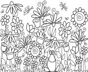 kids flowers and frog coloring pages