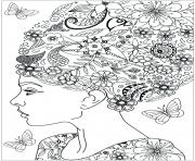 woman with hairs in flowers coloring pages