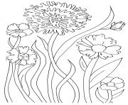 simple flowers for adult relaxing coloring pages