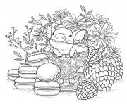 flower adults fruits macaroons coloring pages