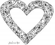 Cool drawing with an heart containing simple flowers and leaves coloring pages