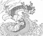 A magnificent dragon surrounded by flowers coloring pages