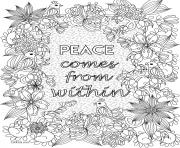 adult flower peace comes from within coloring pages
