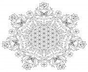 Complex Flower Rose Mandala coloring pages