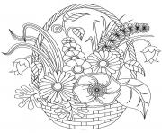 Beautiful and Various flowers in a basket coloring pages