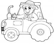 Printable Thanksgiving boy on tractor coloring pages