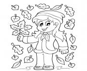 Printable girl in leaves fall coloring pages