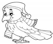 Printable cozy bird fall coloring pages