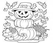 Printable pumpkin fall halloween funny coloring pages