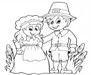 Printable pilgrim couple for thanksgiving coloring pages