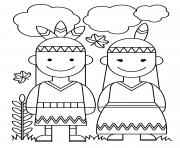 Printable Thanksgiving Native American Indians coloring pages