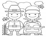 Printable Thanksgiving Couple Food Ready Turkey coloring pages