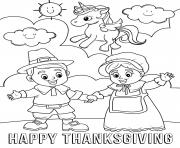Printable Happy Thanksgiving Unicorn and Pilgrims coloring pages