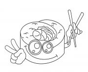 Printable sushi kawaii coloring pages