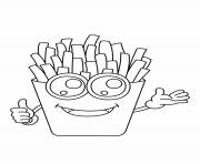 Printable french fries kawaii coloring pages