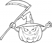 Printable halloween pumpkin with a witch hat and scythe coloring pages