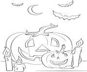 halloween scene with pumpkins candles and bats