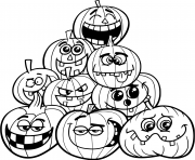 Printable halloween pumpkins emotions coloring pages
