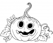 Printable funny lantern from pumpkin with the cut out of a grin and leaves coloring pages