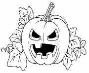 Printable lantern from pumpkin with the cut out of a terrible grin and leaves outlined coloring pages