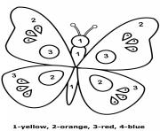 color by number easy worsheet for children butterfly