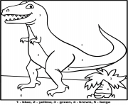 dinosaur t rex color by number