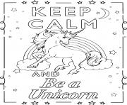 Printable keep calm and be an unicorn 2 coloring pages