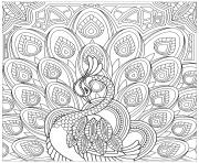 Printable adult peacock squared coloring pages
