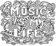 Printable music is my life coloring pages