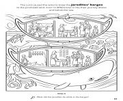 Printable find 13 differences in their journey above and below the sea coloring pages