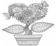 Printable flower heart for adults coloring pages