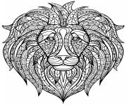 Printable mandala lion africa adult coloring pages