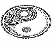 Printable mandala symbols yin yang coloring pages