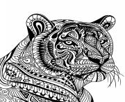 Printable mandala tiger adult animal coloring pages