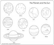 Printable the planets and the sun coloring pages