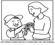 test smoke alarms monthly to make sure they are working coloring pages