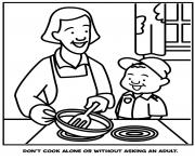 dont cook alone or without asking an adult coloring pages