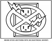 never stick anything into an electrical socket coloring pages