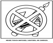 never touch matches lighters or candles coloring pages