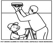 put smoke alarms in your home especially near bedrooms coloring pages