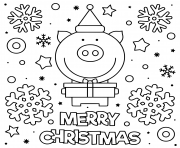 Printable cute pig wish merry christmas coloring pages