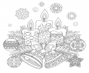 Printable candlelight and theme of christmas balls coloring pages