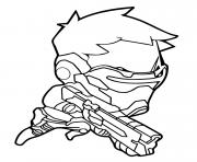 Printable Overwatch Soldier 76 Cute Spray coloring pages