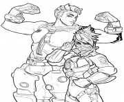 Printable overwatch zarya et tracer coloring pages