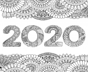 new year 2020 inside floral frame adult
