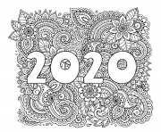 Printable new year 2020 highly detailed decorative floral pattern coloring pages